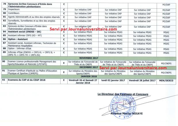 Calendrier des examens et concours 2017 au Sénégal