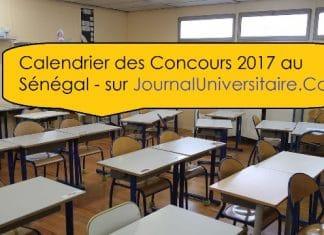 Calendrier des concours 2017 au Sénégal